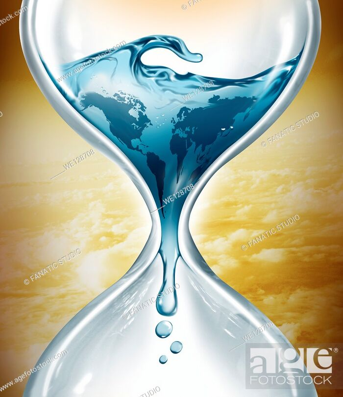 Stock Photo: Illustrative image of water in hourglass representing water depletion.