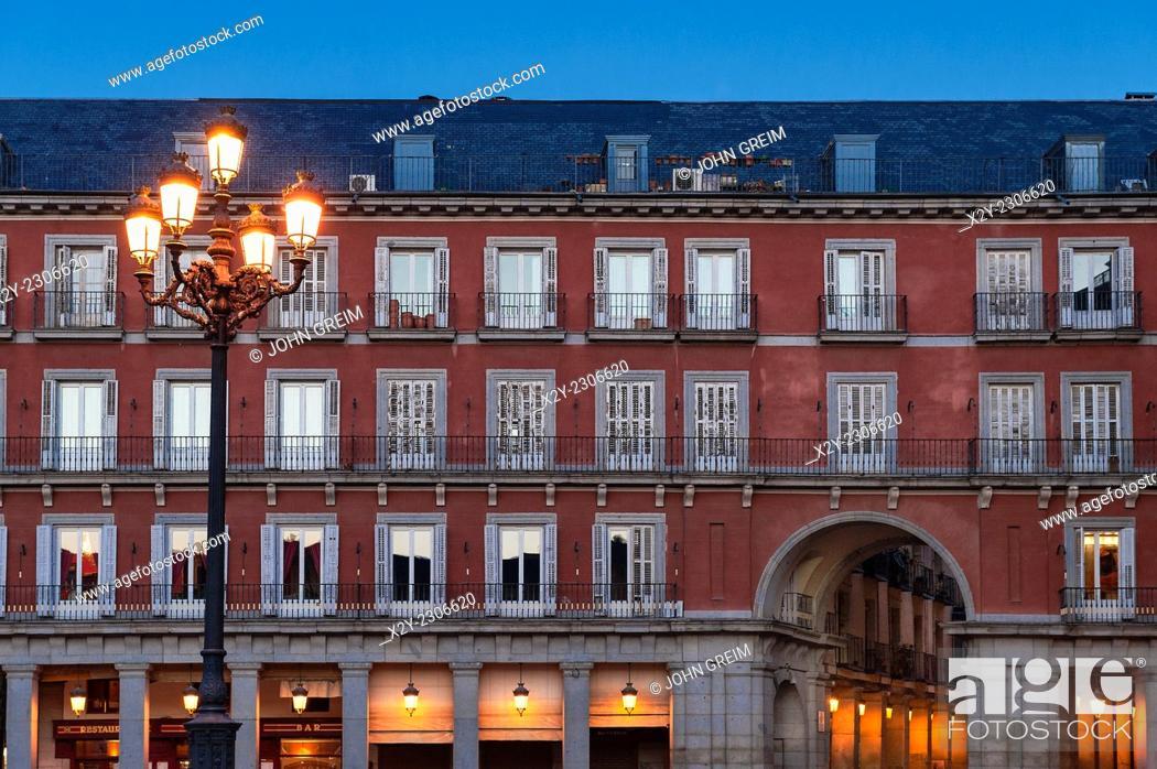 Stock Photo: Street lamp in the Plasa Mayor, Madrid, Spain.