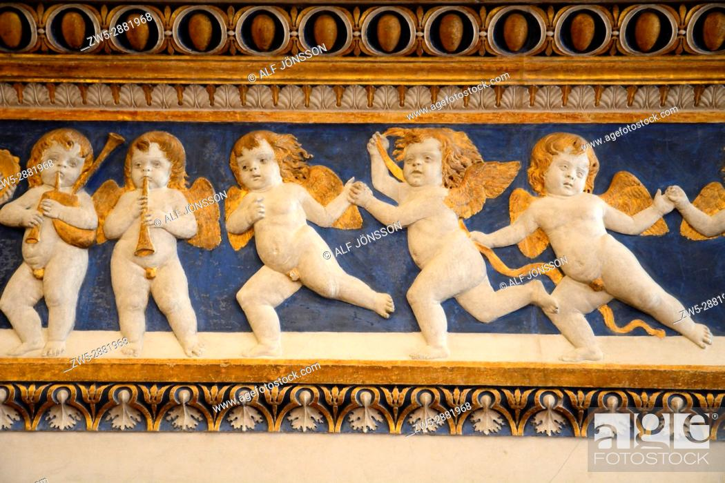 Stock Photo: Frieze with angels in Palazzo Ducale in Urbino, Marche, Italy.