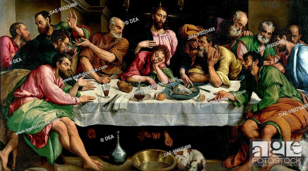 Stock Photo: The Last Supper, 1542, by Jacopo Bassano (ca 1510-1592), oil on canvas, 168x270 cm.  Rome, Galleria Borghese (Archaeological And Art Museum).