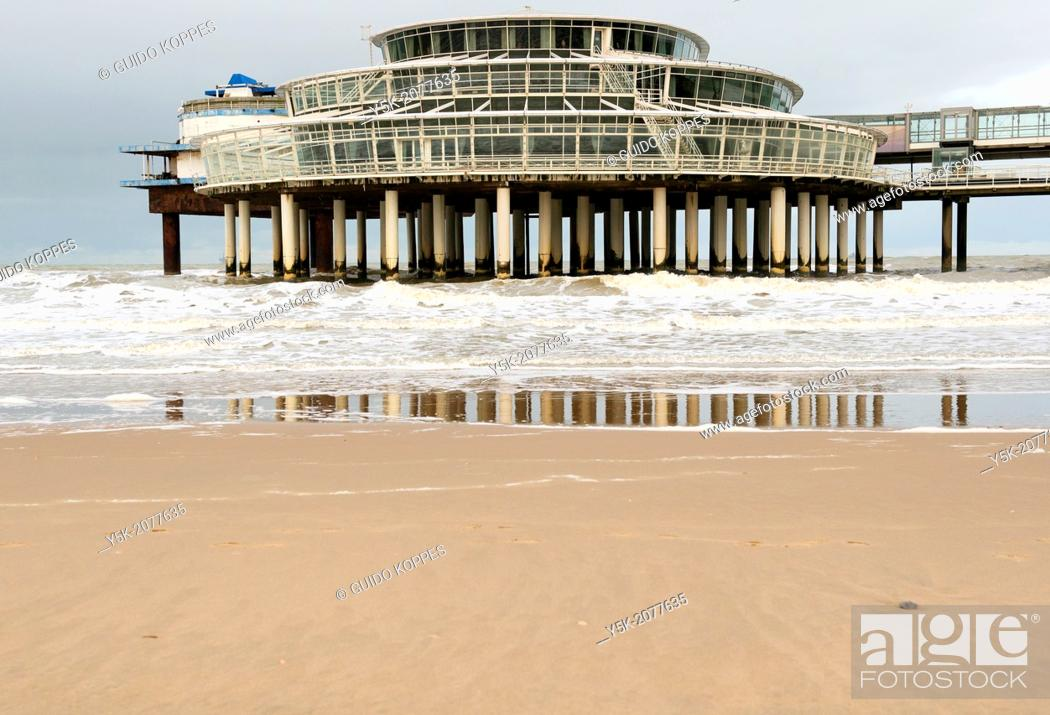Stock Photo: The Hague, Scheveningen, Netherlands. The pier at Scheveningen during the fall, a few months after closure due to declining revenues and lack of maintenance.