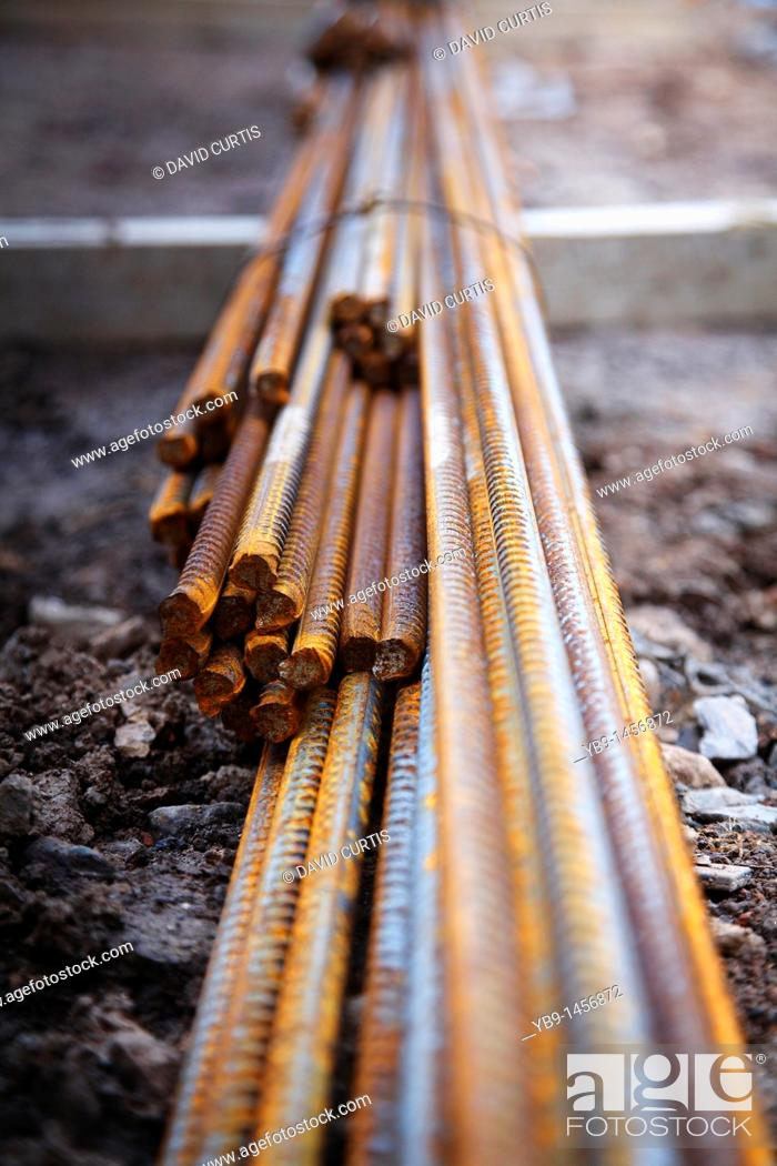 Stock Photo: close up of reinforcement steel metal rods.
