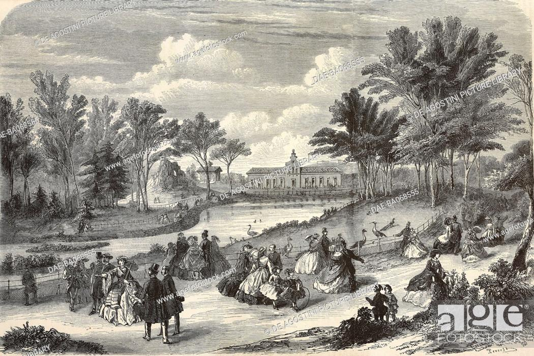 Stock Photo: The Zoo at the Bois de Boulogne, Paris, France, illustration by Provost from L'Illustration, Journal Universel, No 920, Volume 36, October 13, 1860.