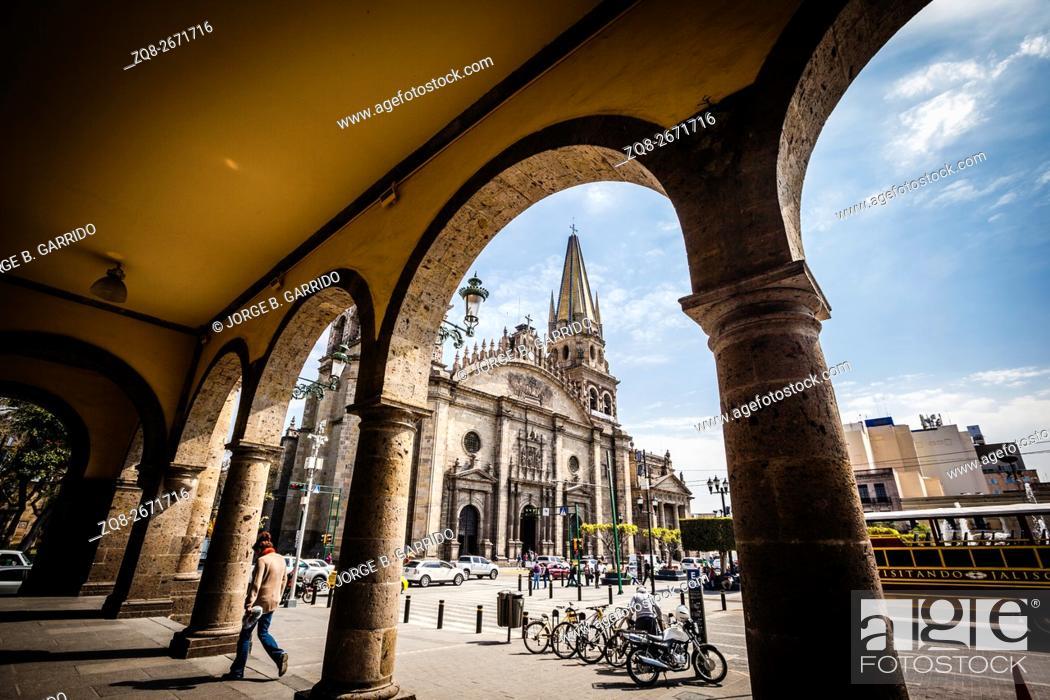 Stock Photo: Guadalajara, Mexico. Main Cathedral.