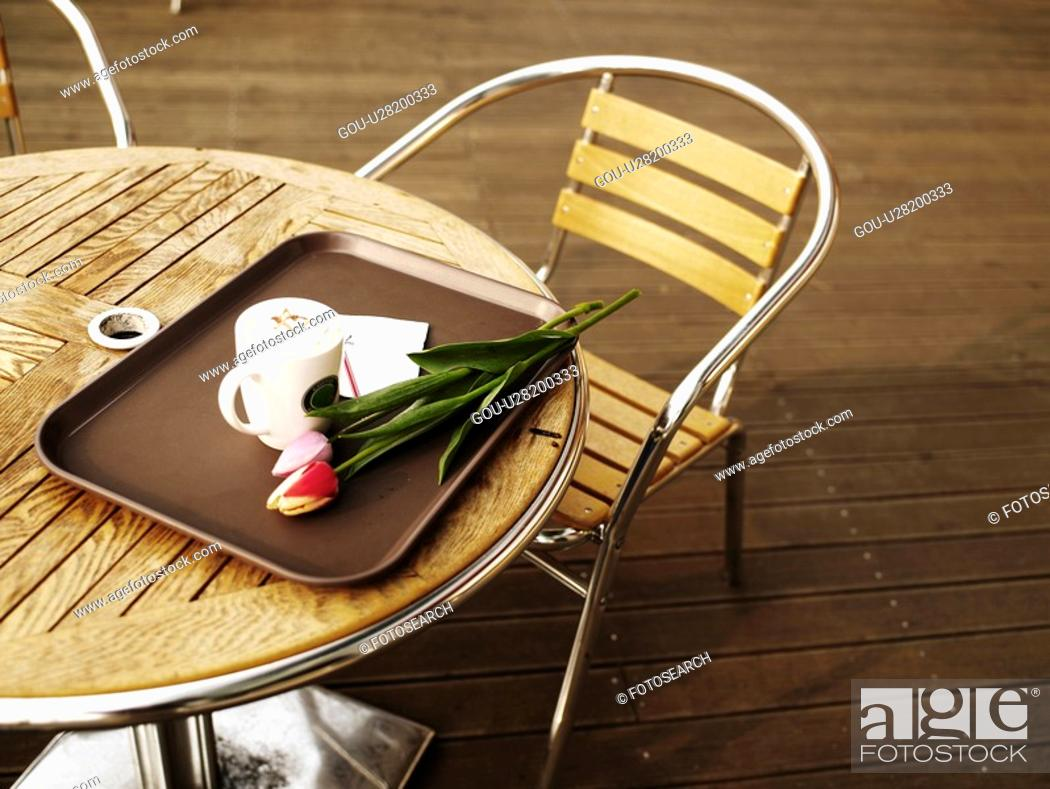 Stock Photo: coffee mug, spring, tray, flower, tulip, drink, season.