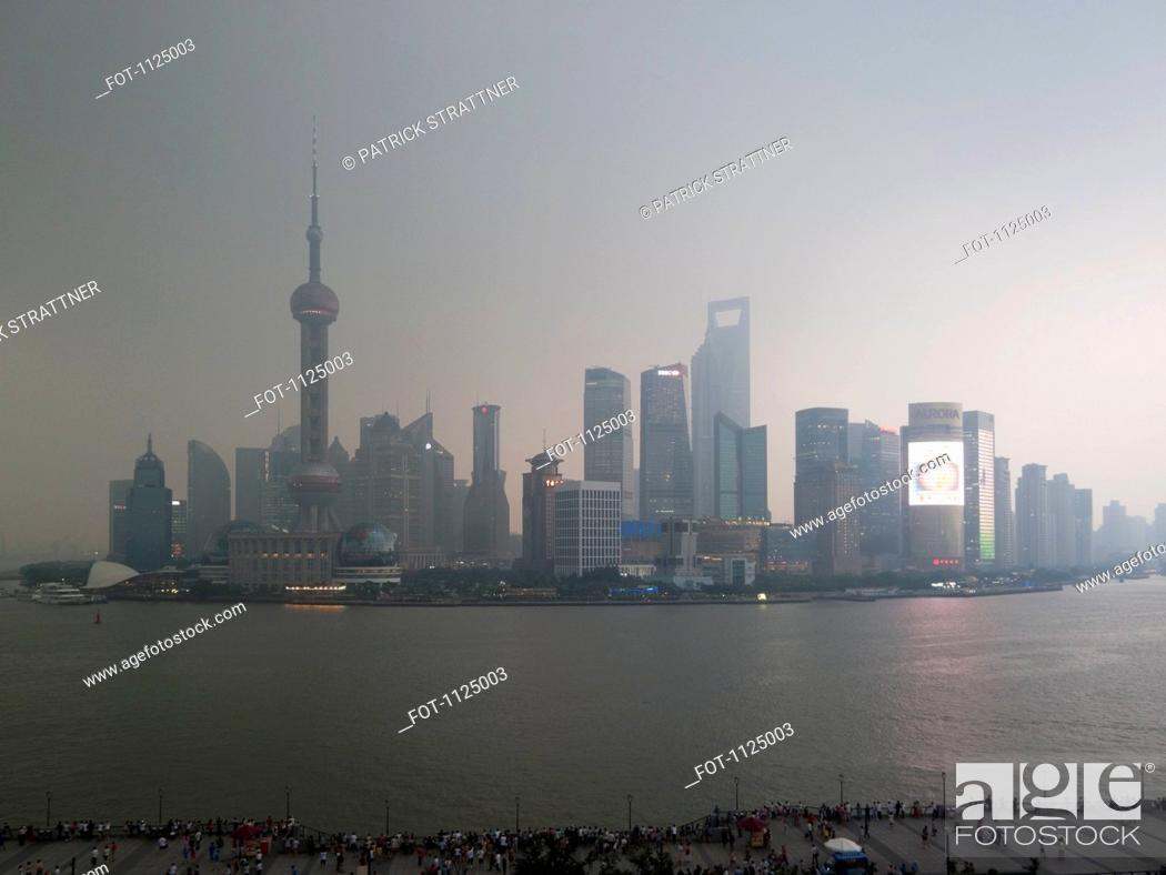 Stock Photo: Shanghai skyline at dusk.