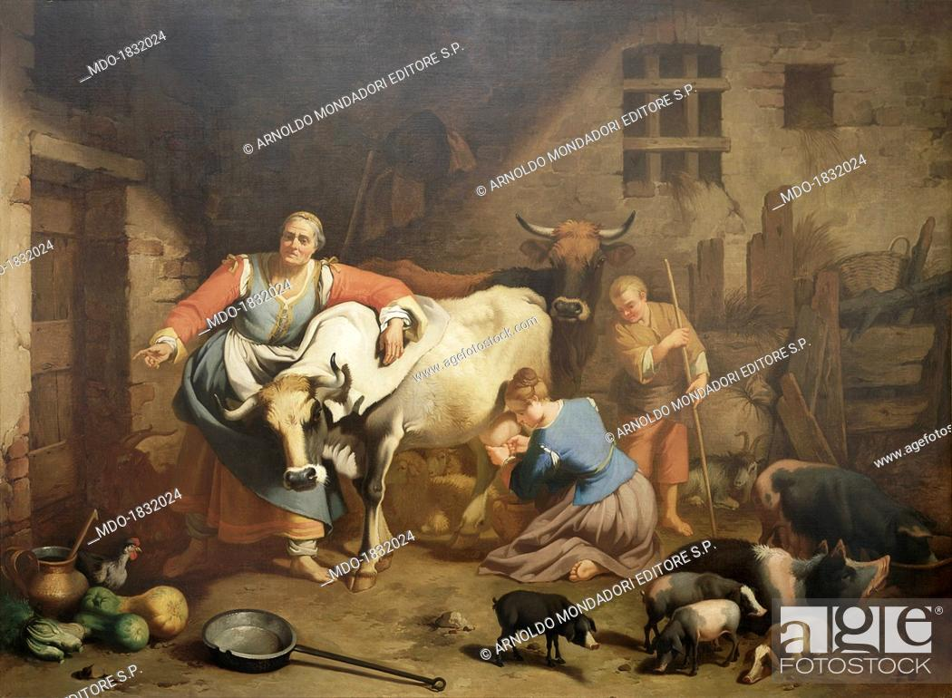 Shepherds And Animals In A Barn Or The Lombard Farmhouse By