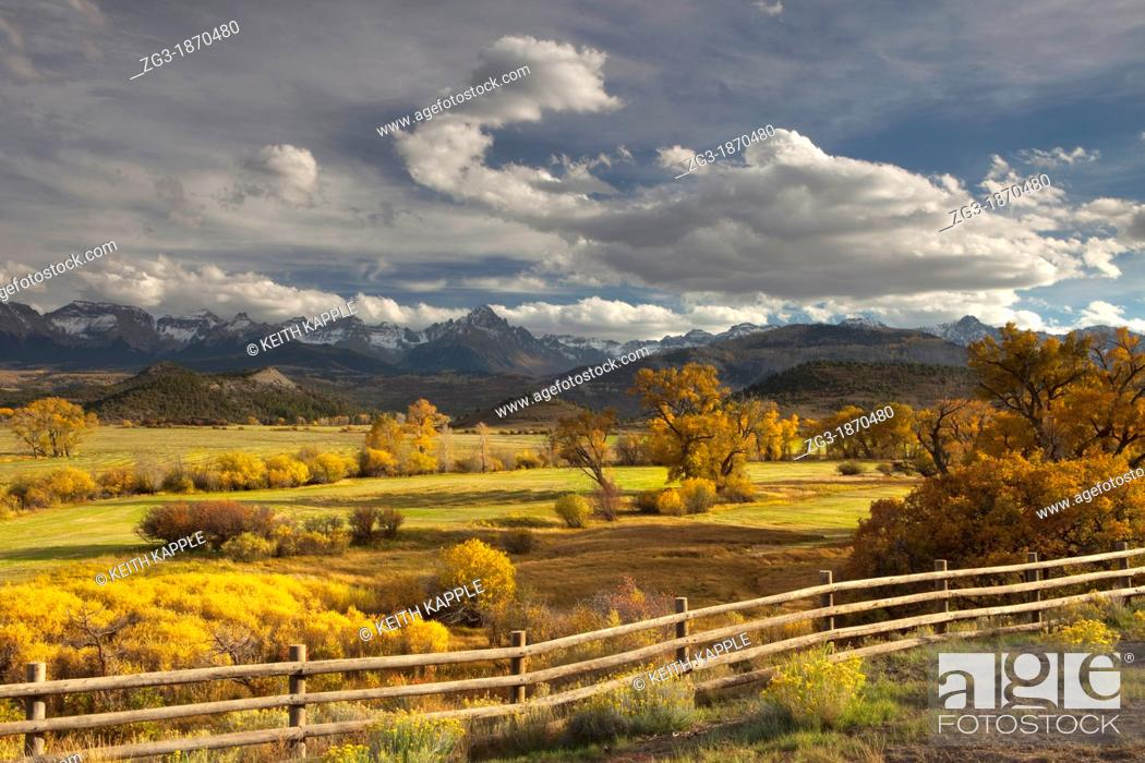 Stock Photo: The mountain range known as the Dallas Divide at sunset, Colorado, USA.