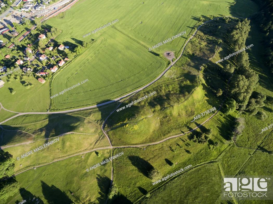 Stock Photo: Uppsala mounds in Old Uppsala. Sweden.