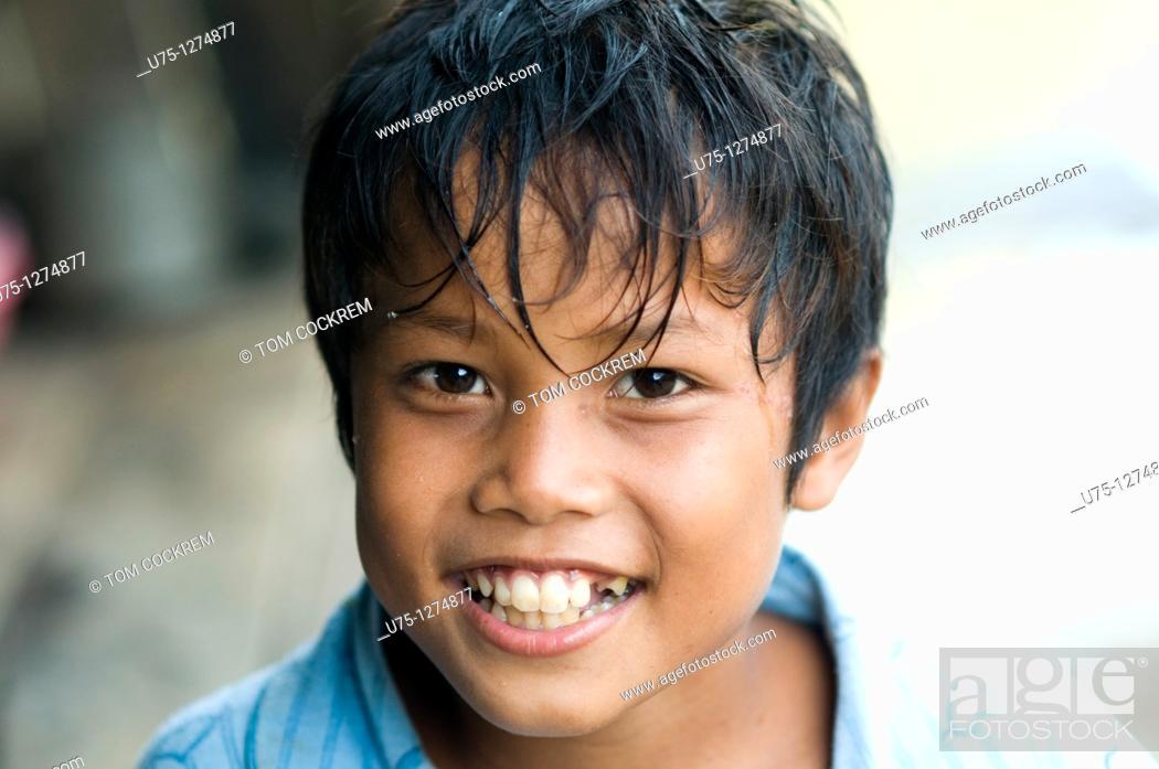 Stock Photo: Boy in Sisophan, Cambodia,.