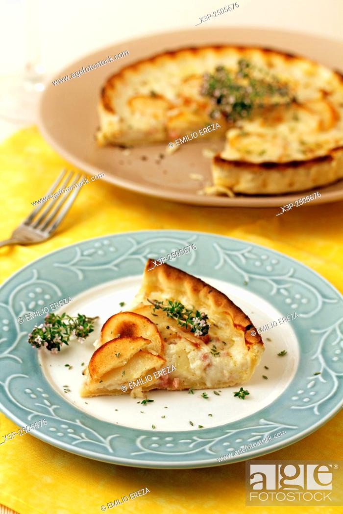 Stock Photo: Quiche with potatoes and cheese.