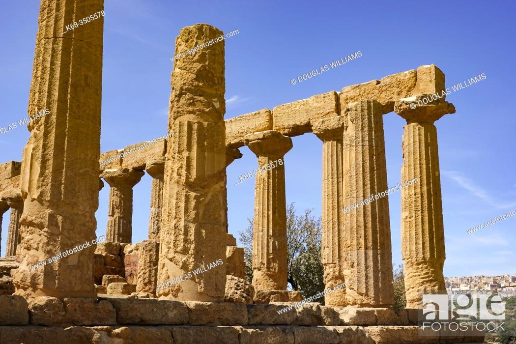 Stock Photo: The Temple of Hera Lacinia, in the Valle dei Templi at Agrigento, Sicily, Italy.
