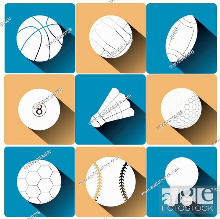 Stock Vector: Sport icon set, basketball, volleyball football soccer billiards tennis golf ping pong baseball, flat design with long shadow, vector.