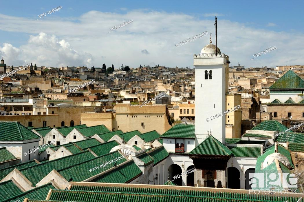 Stock Photo: Kairaouine Mosque and Islamic University founded in 859 Fez Morocco.