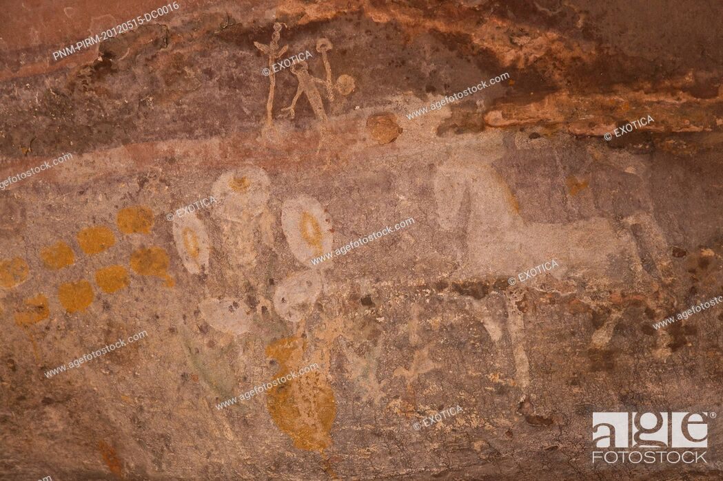 Stock Photo: Close-up of a cave paintings of horse, Bhimbetka Rock Shelters, Raisen District, Madhya Pradesh, India.