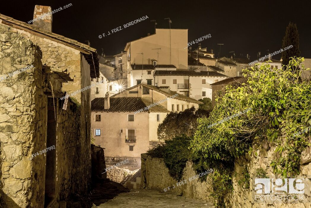 Stock Photo: Rubielos de Mora, municipality of Gudar-Javalambre comarca and province of Teruel. Traditional architecture of the village by night, Teruel, Aragon, Spain.