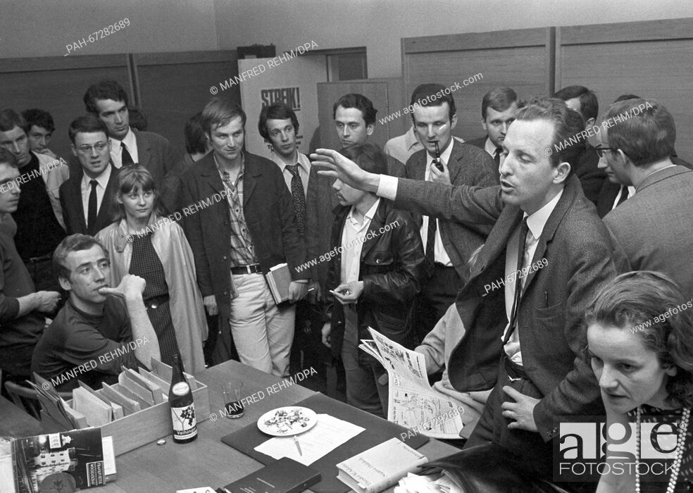 Stock Photo: Students of Goethe-University discussed about actions to be taken against the new Emergency Law on 27 May 1968. - Frankfurt/Hessen/Germany.