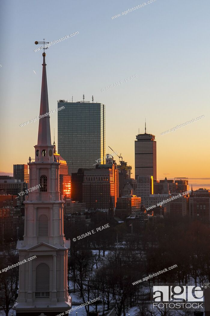 Stock Photo: Park Street Church steeple and skyscrapers at sunset, Boston, Massachusetts, United States.