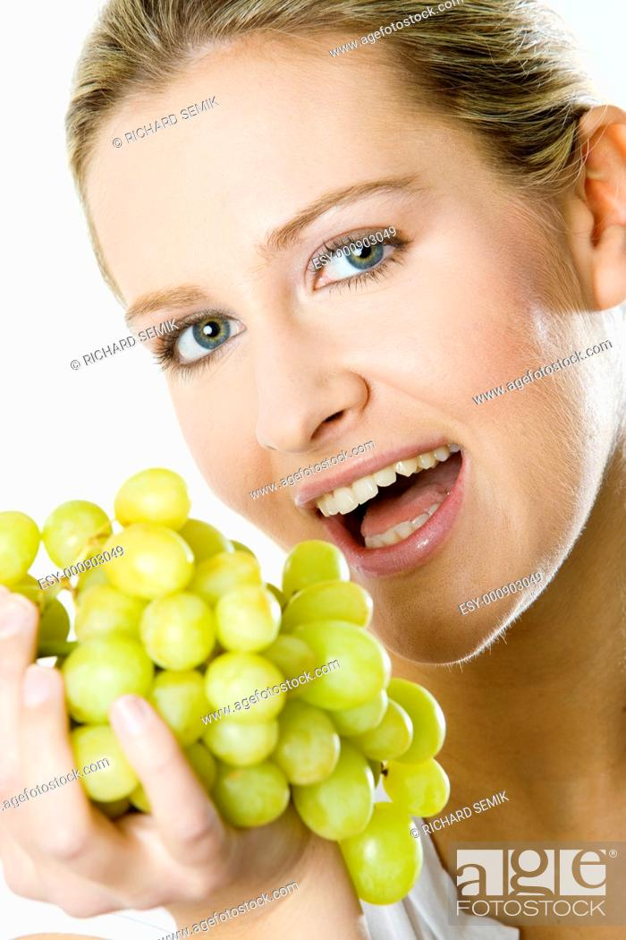 Stock Photo: portrait of woman with grape.