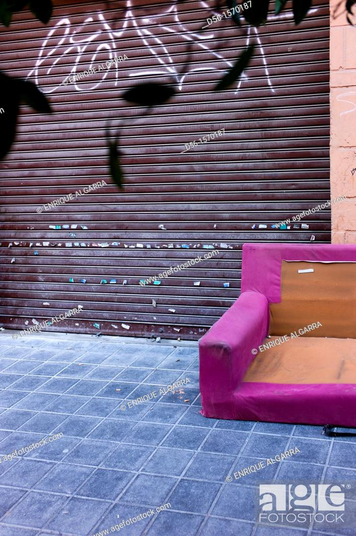 Stock Photo: Abandoned Sofa in the street, Valencia, Spain.