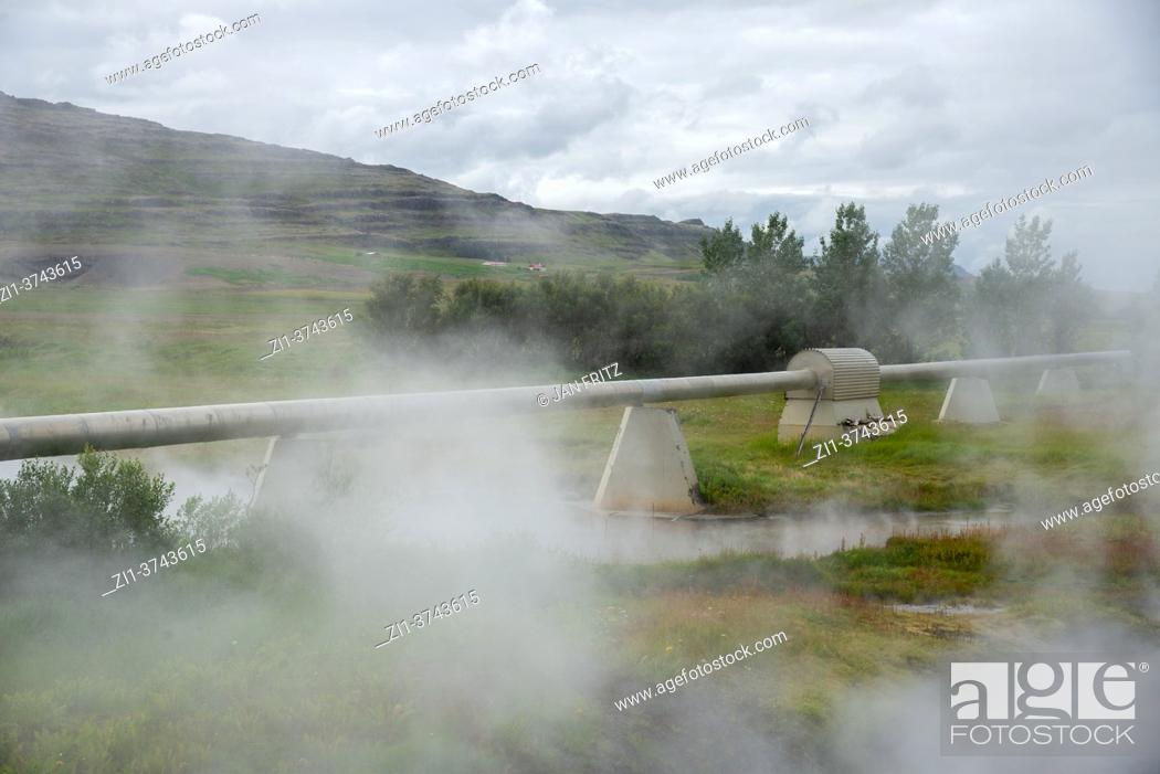 Stock Photo: hot water pipelines at Deildartunguhver at Iceland.