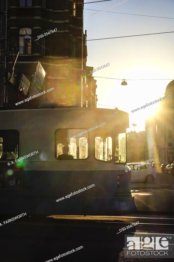Stock Photo: Gothenburg, Sweden A tram on Vasaplatsen in the eraly morning and silhouette.