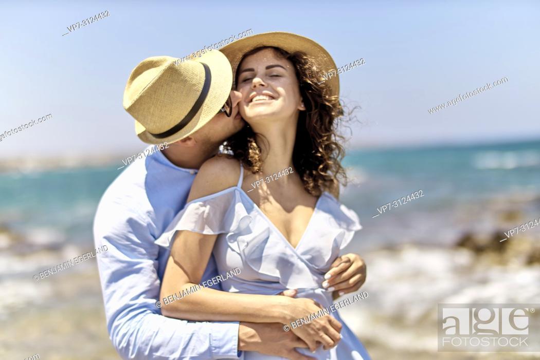 Stock Photo: couple at beach, holidays, summer, love, flirt.