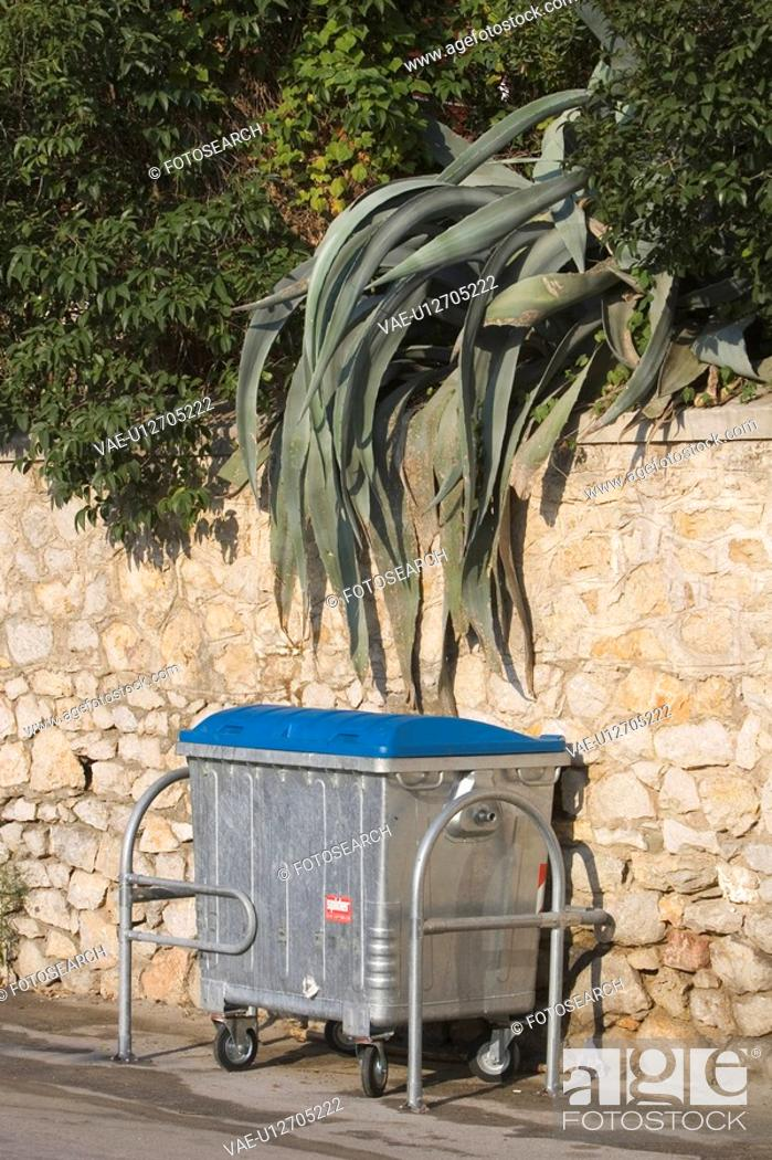 Stock Photo: Container, Day, Fence, Garbage Bin, Green.