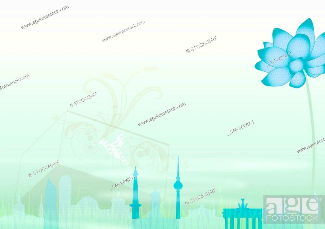 Stock Photo: Illustration of a blue flower and landmarks of Berlin, Germany.