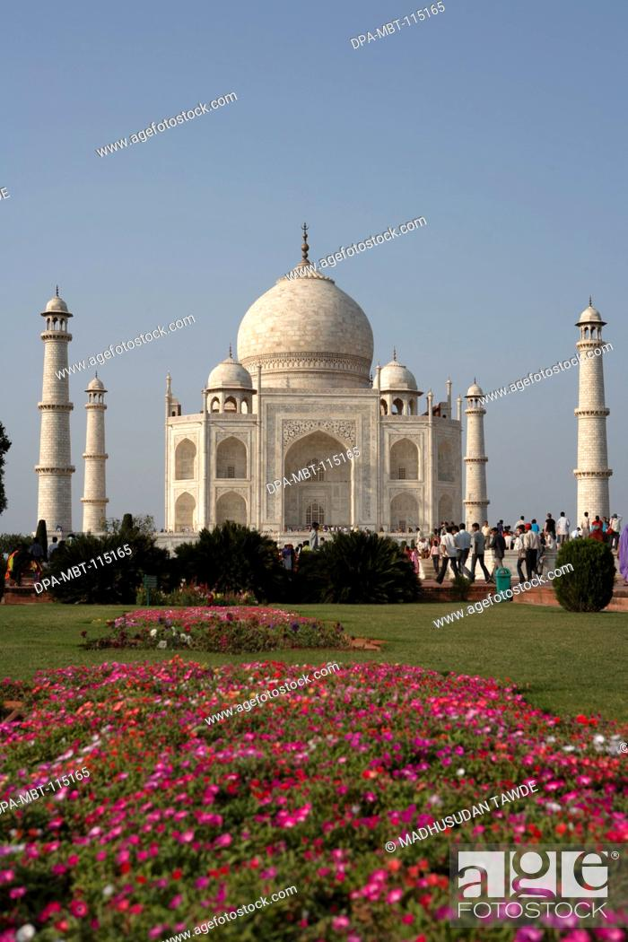Stock Photo: View of Taj Mahal with garden Seventh Wonders of World on the south bank of Yamuna river , Agra , Uttar Pradesh , India UNESCO World Heritage Site.