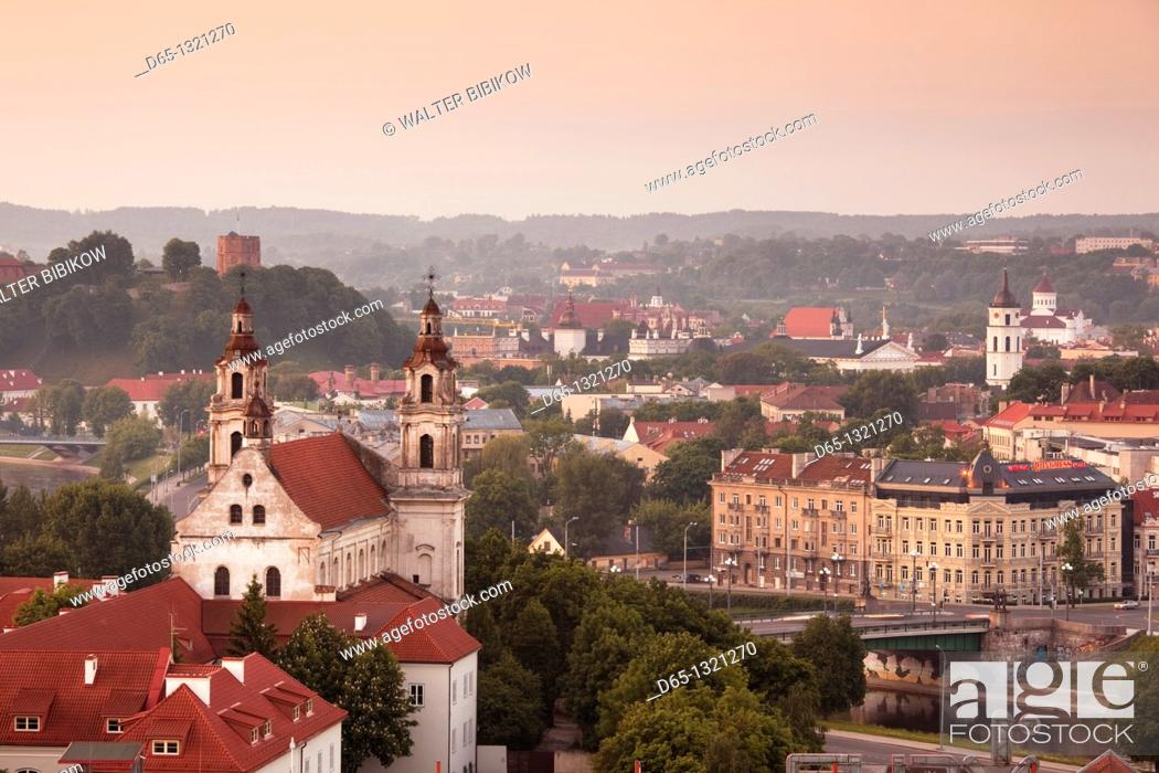 Stock Photo: Lithuania, Vilnius, elevated view of St  Raphael's Church, dawn.