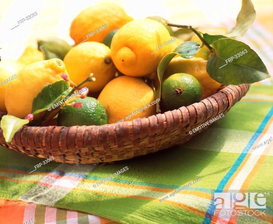 Stock Photo: Basket with lemons and limes.