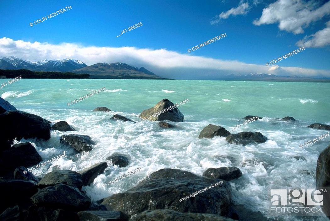 Stock Photo: Northwest wind blows waves on Lake Pukaki New Zealand.