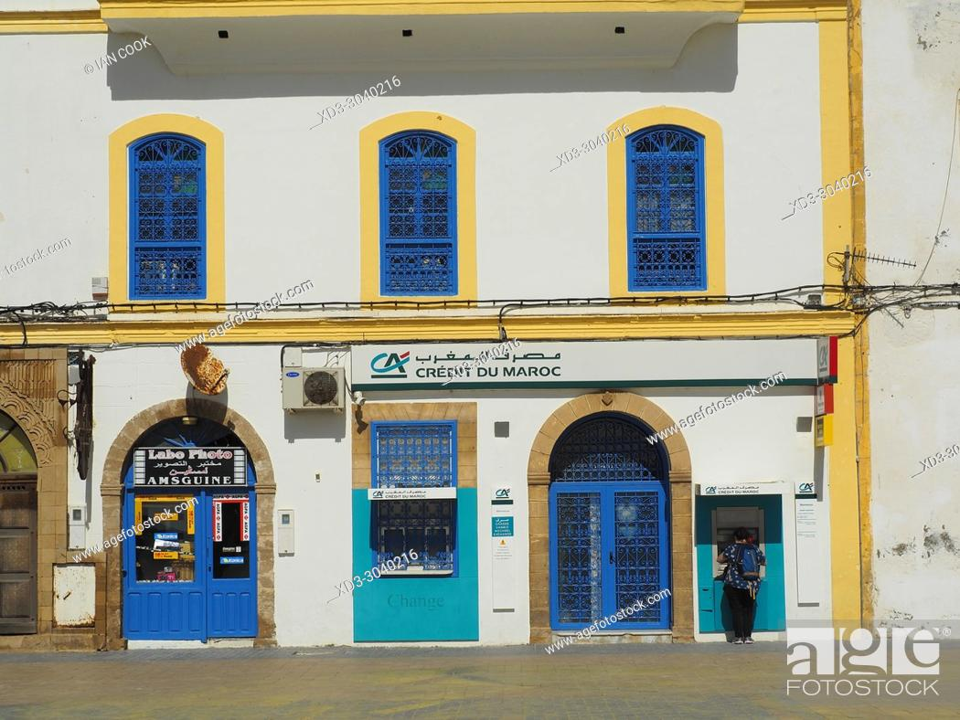 Stock Photo: Credit Agricole Bank, Place Moulay el Hassan, Medina, Essaouira, Morocco.