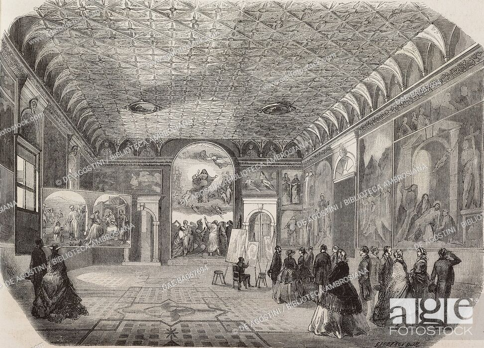 Imagen: Men and women admire works of art inside a hall of the Gallerie dell'Accademia, Venice, Italy, illustration from a drawing by Giovanni Roberti.