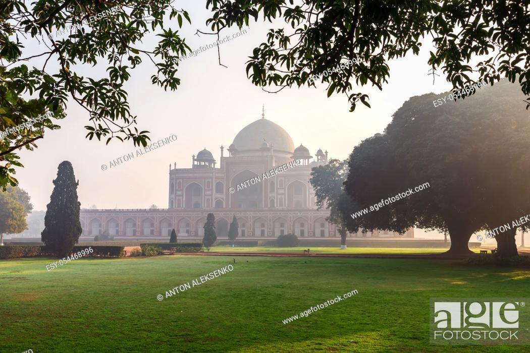 Stock Photo: Humayun's Tomb in the morning mist, New Delhi, India.