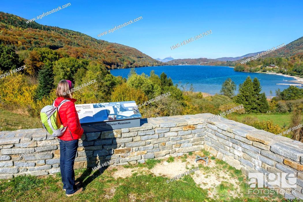 Stock Photo: France, Isere, surroundings of Grenoble, Matheysine region, hike around Laffrey lakes, Great Laffrey Lake from Olivier Messiaen viewpoint.