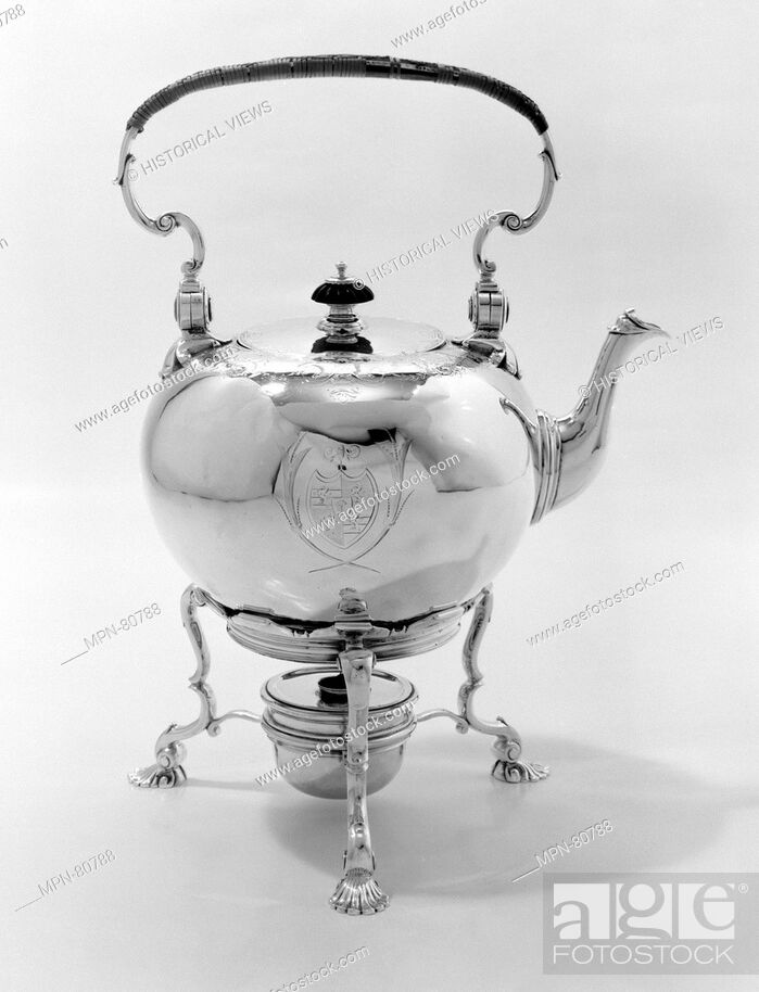 Stock Photo: Hot water kettle with stand. Maker: Thomas Farrer (entered 1720); Date: 1734-35; Culture: British, London; Medium: Silver, wood; Dimensions: Height: 13 1/2 in.