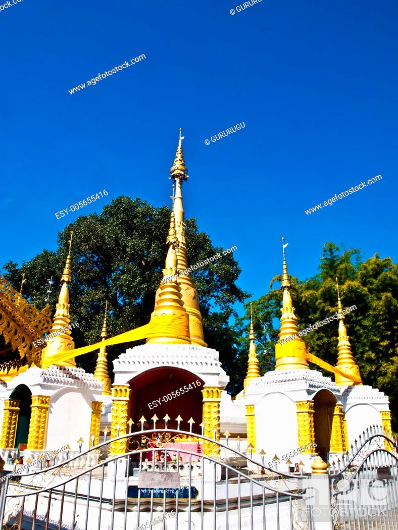 Stock Photo: Golden pagoda in Tai Yai style in Wat Klang, Pai in Mae Hong Son, Thailand.