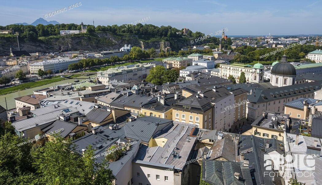 Stock Photo: View across the rooftops of Salzburg, Austria, Europe.