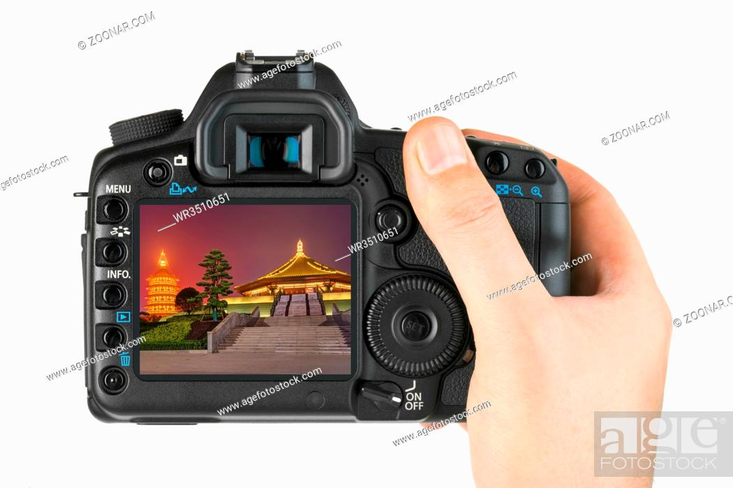 Photo de stock: Camera and Luoyang City National Heritage Park - China (my photo) isolated on white background.