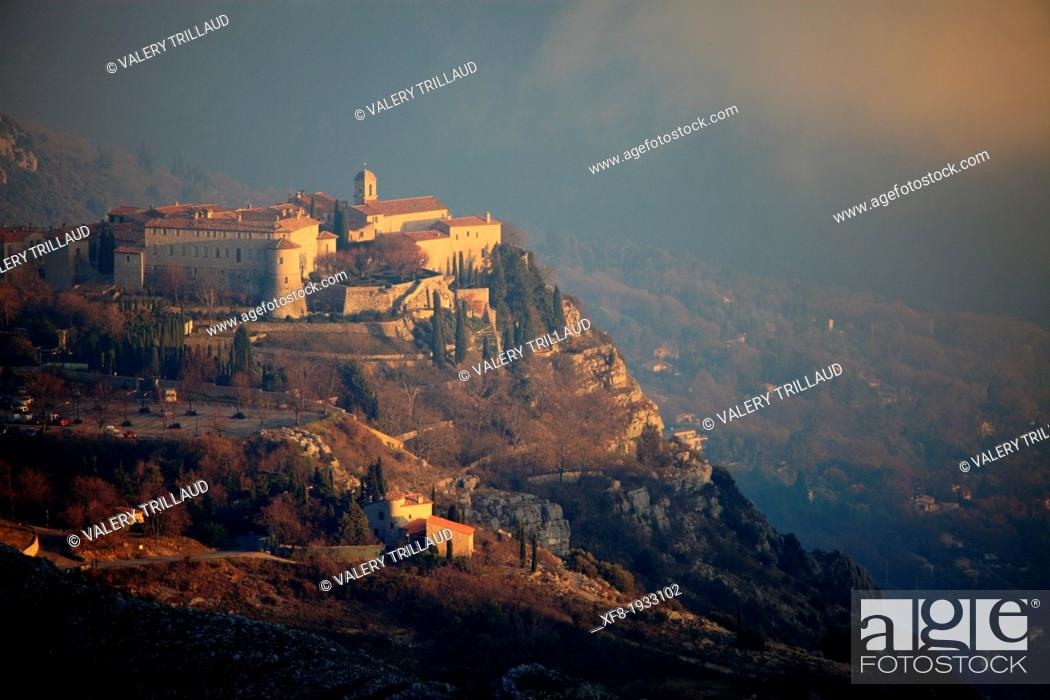 Stock Photo: Medieval perched village of Gourdon, Alpes-Maritimes, 06, French Riviera, Cote d'Azur, PACA, France.