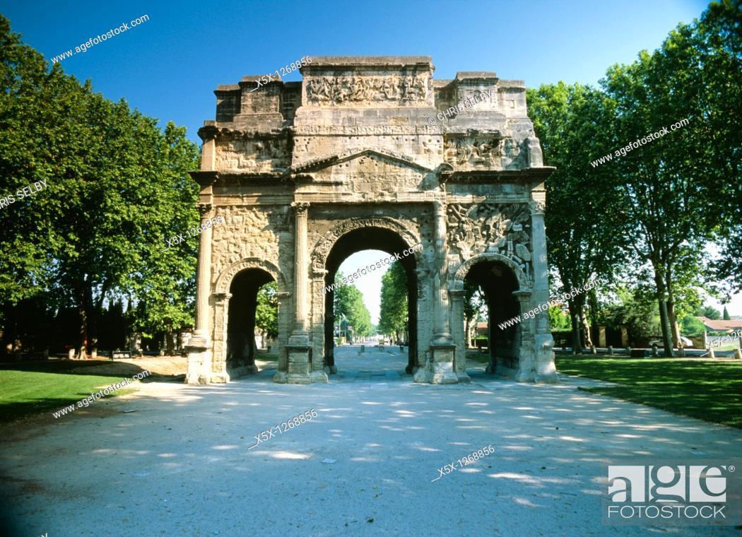 Stock Photo: Roman Arc de Triomphe in Orange, Provence, France.
