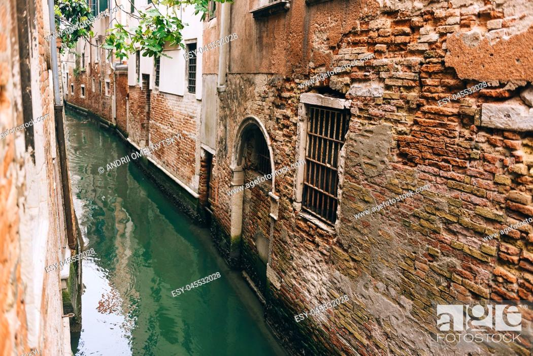 Stock Photo: narrow streets and canals of Venice Italy.