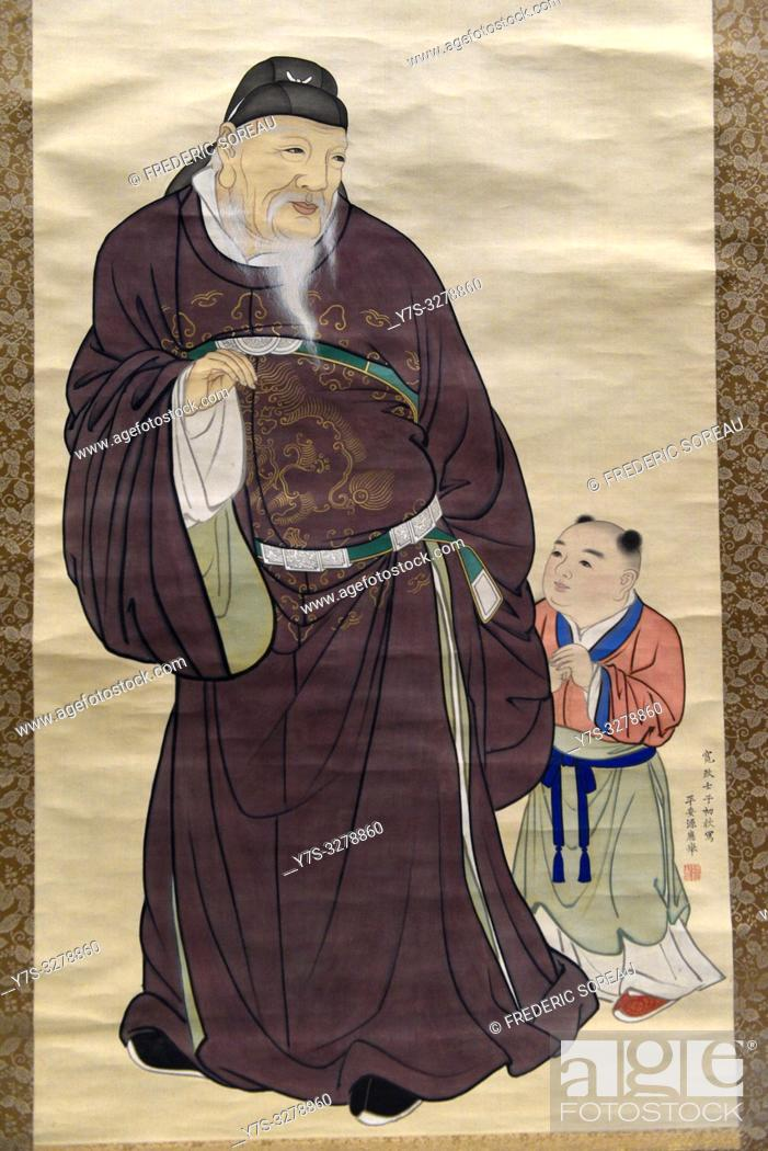 Stock Photo: Guo Ziyi with a child by Maruyama Okyo (1733-95), color on silk, Edo period, dated 1792, Tokyo National Museum, Tokyo, Honshu, Japan, Asia.