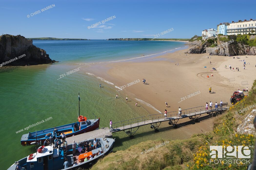 Stock Photo: Castle Beach and South Beach Tenby Pembrokeshire Wales with Caldey Island in the background.