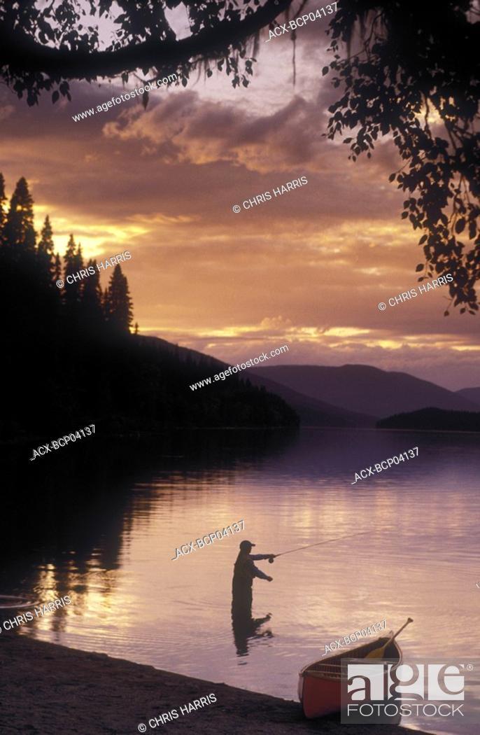 Stock Photo: fly-fishing on Bowron Lakes, British Columbia, Canada.