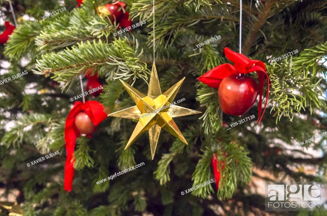 Stock Photo: Star, Christmas decoration, Christmas tree.