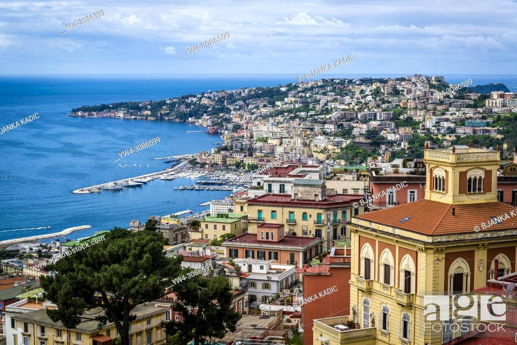Photo de stock: Cityscape and Bay of Naples from Castel Sant'Elmo, a medieval fortress, Naples, Italy.