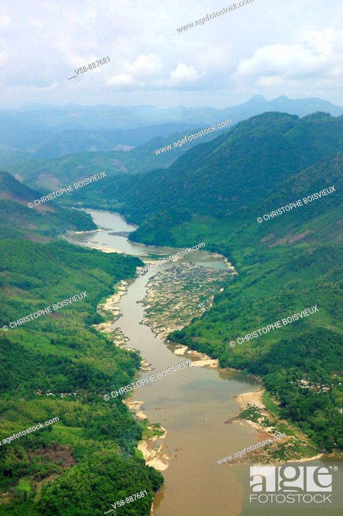 Stock Photo: The Mekong from above, Luang Prabang region, Laos.